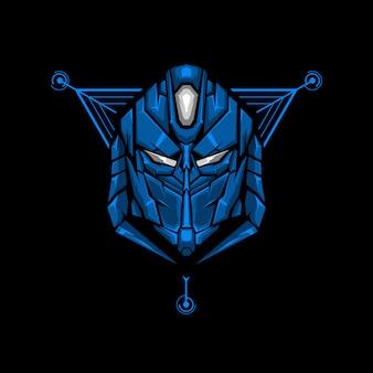 Illustratie van de robot de hoofd heilige geometrie