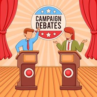 Illustratie van de scène van de verkiezingscampagne
