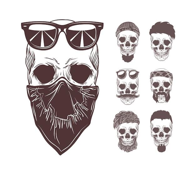 Illustratie van de schedel in bandana en zonnebril op gezicht met set zwart-wit schedels verschillende karakters geïsoleerd op een witte achtergrond