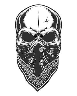 Illustratie van de schedel in bandana op het gezicht