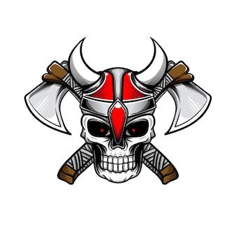 Illustratie van de schedel met de helm van viking