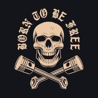 Illustratie van de schedel met gekruiste zuigers op de donkere achtergrond