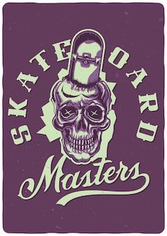 Illustratie van de schedel met skateboard