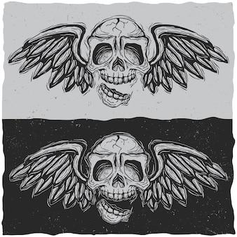Illustratie van de schedel met vleugels