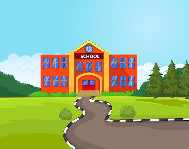Illustratie van de schoolbouw