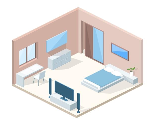 Illustratie van de slaapkamer de binnenlandse dwarsdoorsnede