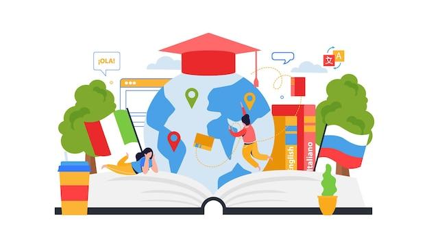 Illustratie van de taalschoolklas