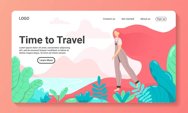 Illustratie van de tijd om te reizen voor een landingspagina-sjabloon voor zakenreizen. vrouwentoeristen die met familie, vrienden of alleen reizen, gaan op reis exotische plek met palmbomen. vlakke stijl