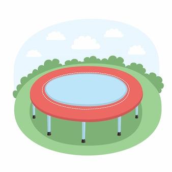 Illustratie van de trampoline op de weide