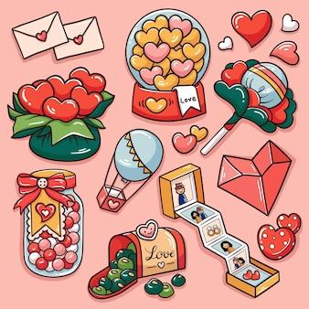 Illustratie van de valentijnskaartgiften van de beeldverhaalkrabbel