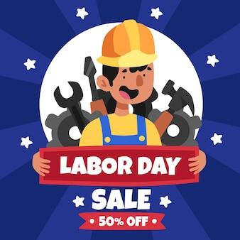 Illustratie van de verkoop van de dag van de arbeid cartoon