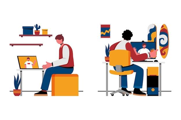 Illustratie van de videoconferentiescène van vrienden