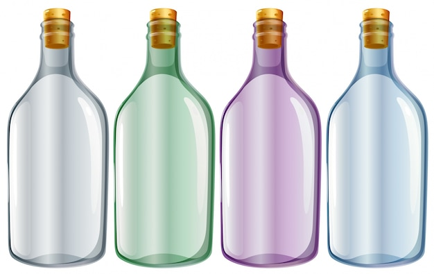 Illustratie van de vier glazen flessen op een witte achtergrond