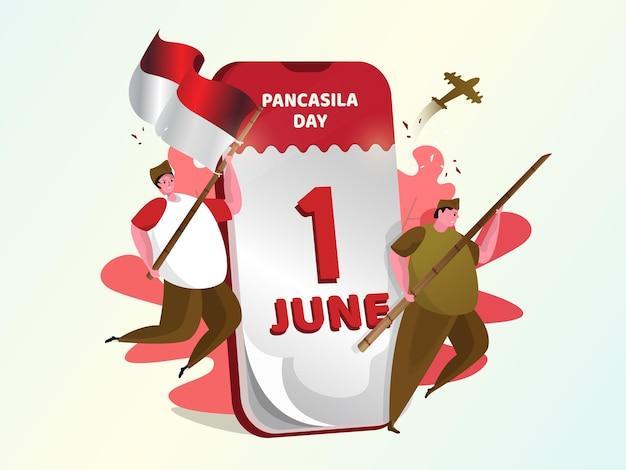Illustratie van de viering van 1 juni nationale pancasila-dag Premium Vector