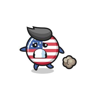Illustratie van de vlag van de verenigde staten die in angst loopt, schattig stijlontwerp voor t-shirt, sticker, logo-element