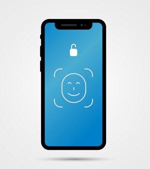 Illustratie van de voorkant van de nieuwe mobiele telefoon met gezichts-id