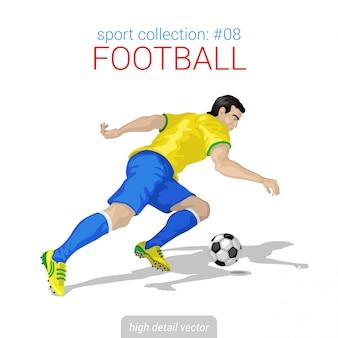 Illustratie van de voorwaartse inbreuk van de voetbalster.