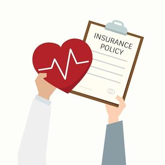 Illustratie van de vorm van het gezondheidsverzekeringsbeleid