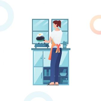 Illustratie van de vrouw die een ei kookt