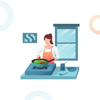 Illustratie van de vrouw die groenten kookt