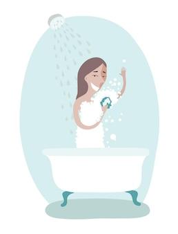 Illustratie van de vrouw die voor persoonlijke hygiëne zorgt. douchen