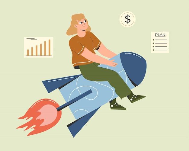 Illustratie van de vrouw zittend op een raket die een zakelijk project start