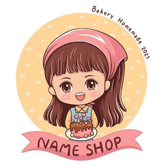 Illustratie van de vrouwelijke bakker van het beeldverhaalkarakter