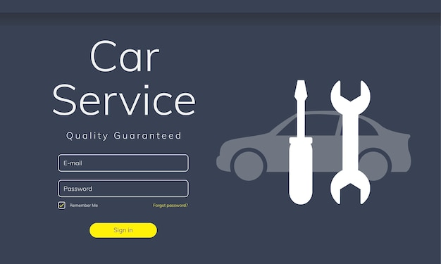 Illustratie van de website van de autoservice