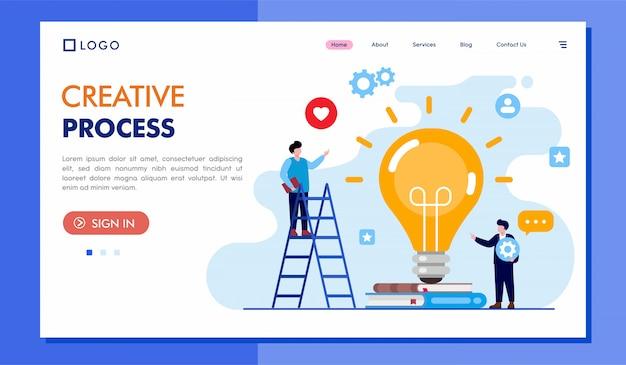 Illustratie van de website van de creatieve proces bestemmingspagina