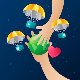 Illustratie van de wereld humanitaire dag met kleurovergang