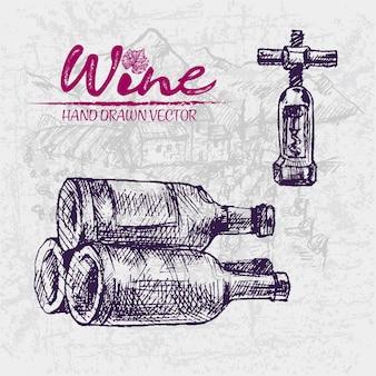 Illustratie van de wijnflessen van de lijnkunst de uitstekende purpere houten