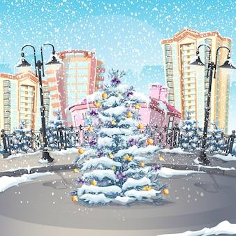Illustratie van de winter met een kerstboom
