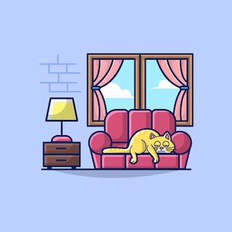 Illustratie van de woonkamer met luie kat