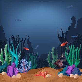 Illustratie van de zeebodem met vissen en zeeplanten.