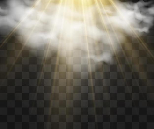 Illustratie van de zon die door de wolken schijnt