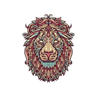 Illustratie van decoratieve leeuw, hand getrokken lijnstijl met digitale kleur, illustratie