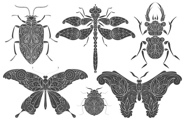 Illustratie van decoratieve zwarte insecten
