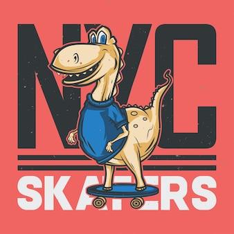 Illustratie van dinosaurus op skateboard