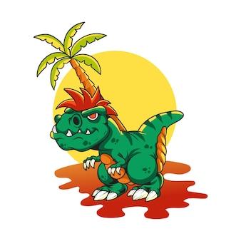 Illustratie van dinosaurus voor karakter, sticker, t-shirt
