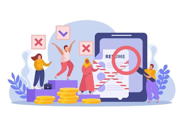 Illustratie van discriminatie op het werk concept
