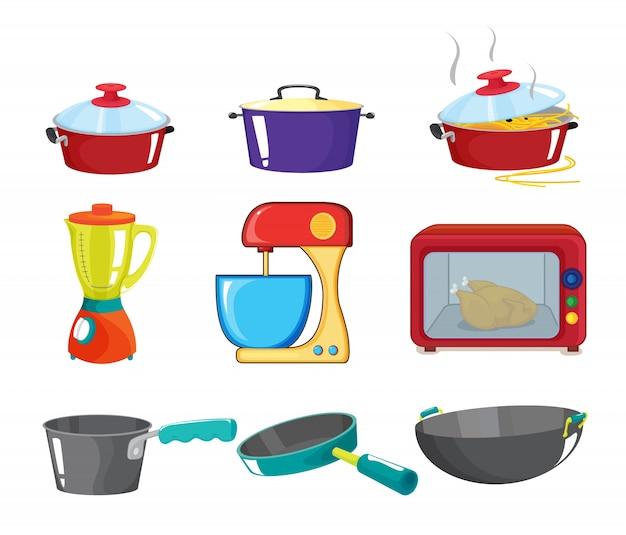 Illustratie van diverse keukenapparatuur