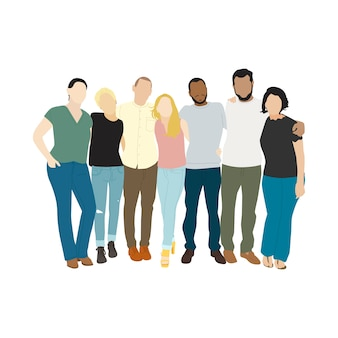 Illustratie van diverse mensen armen om elkaar heen