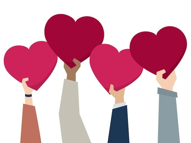 Illustratie van diverse mensen die harten houden