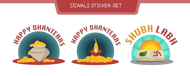 Illustratie van diwali sticker set