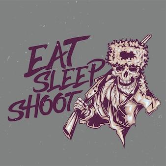 Illustratie van dode jager met letters: eten, slapen, schieten