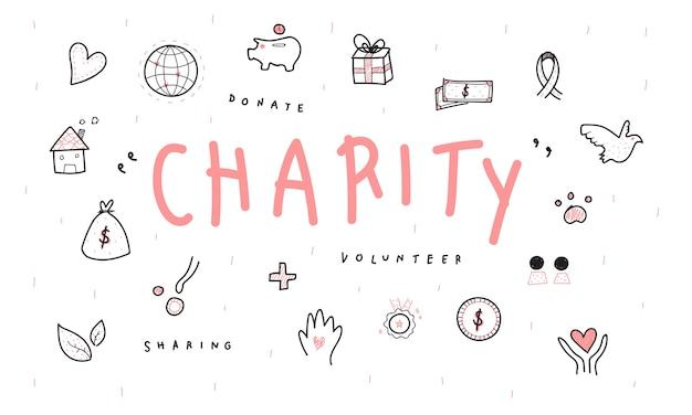 Illustratie van donatieondersteuningspictogrammen