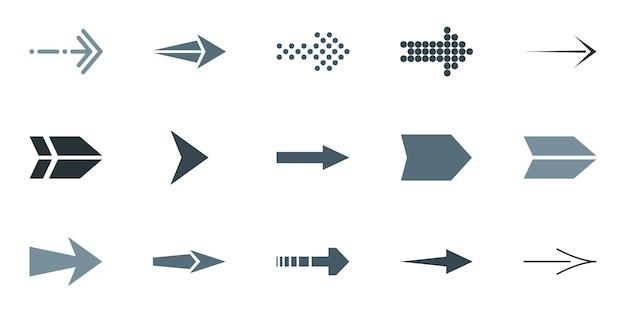 Illustratie van donkere pijlpictogrammen op een witte achtergrond. vector illustratie.