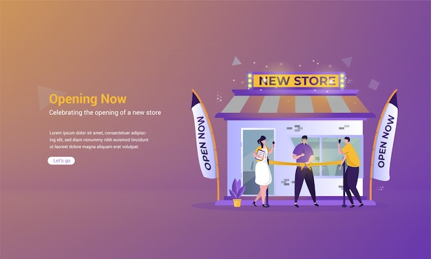Illustratie van doorknippen van het lint om de opening van een nieuw winkelconcept te vieren