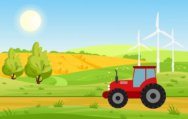 Illustratie van dorp met velden en trekker werken op landbouwgrond, felle kleuren landschap, boerderij concept in vlakke stijl cartoon.
