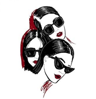Illustratie van drie gezichten n glazen